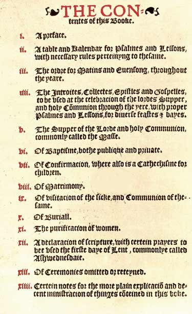 Original Table of Contents, 1549 Book of Common Prayer